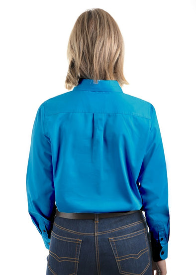 Womens Half Placket Light Cotton Shirt Bright Blue
