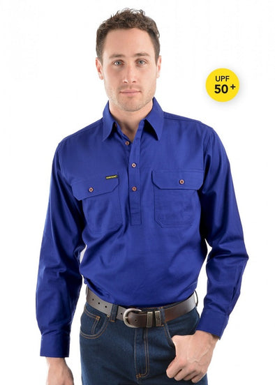 Mens Half Placket Light Cotton Shirt Royal Blue