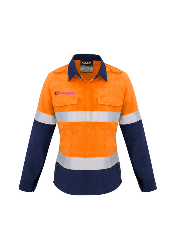 Womens Rugged Cooling Taped Hi Vis Spliced Shirt - Long Sleeve