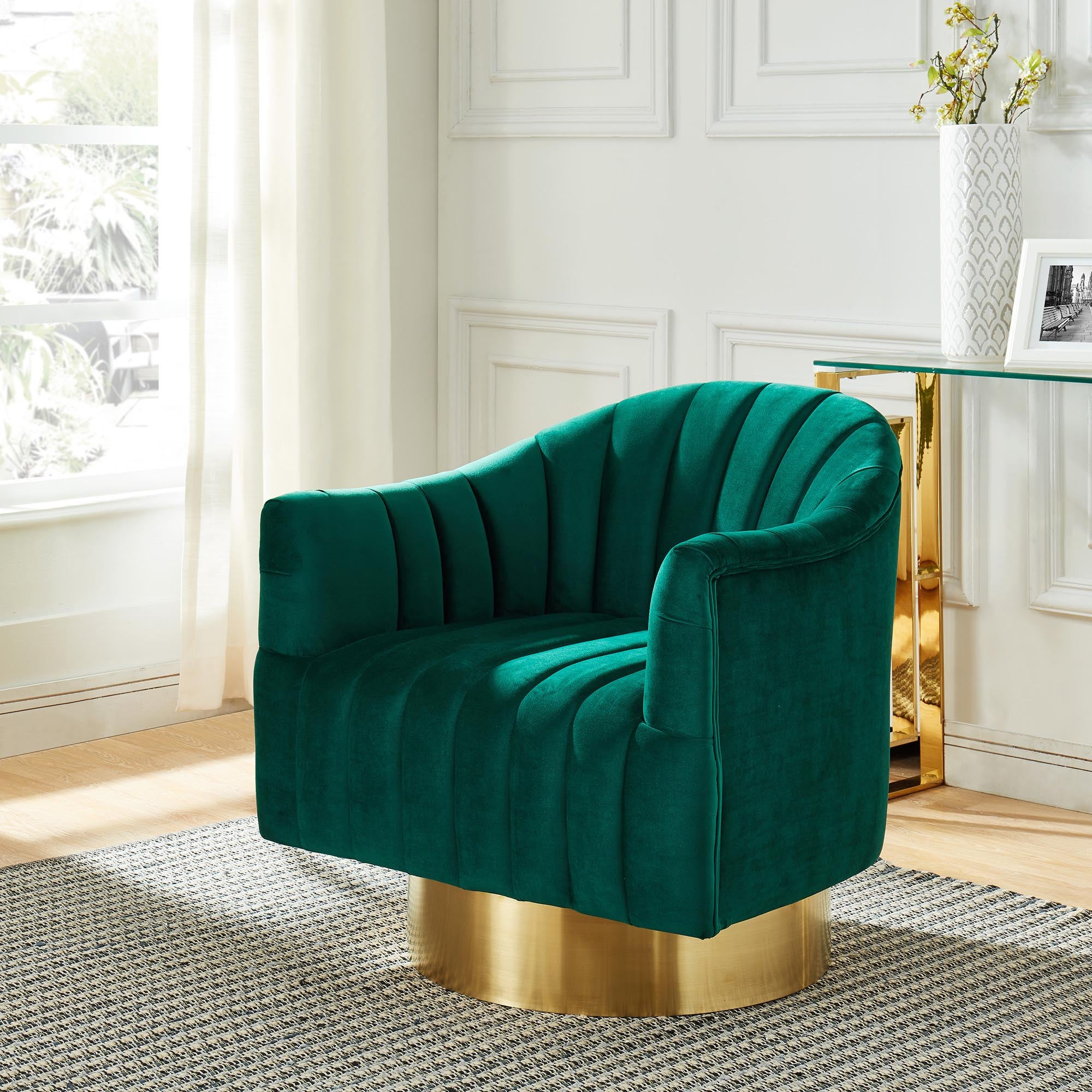 Cortina Accent Chair Green Gold Ea