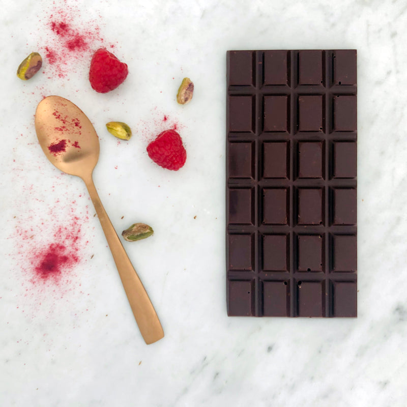 dark chocolate with raspberry and pistachios