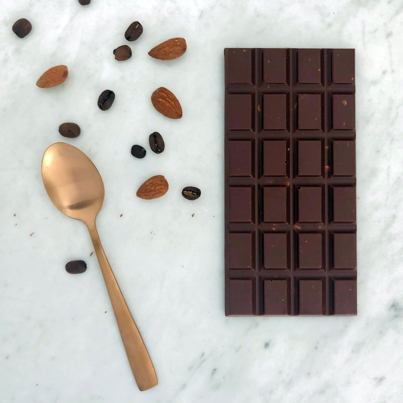 milk chocolate infused with fresh coffee beans and chopped almonds