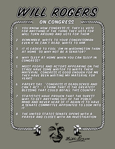 "Will Rogers Quotable T-Shirt ""On Congress"""