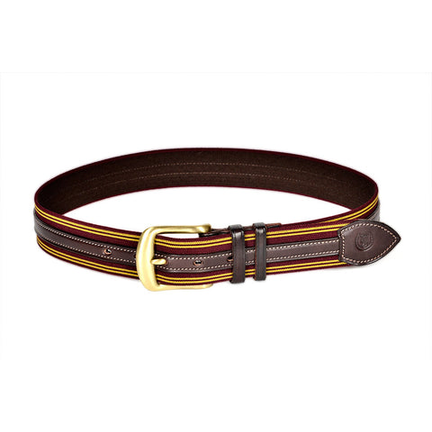 Glendale Overlay Girth Belt (Burgundy w/ Gold)