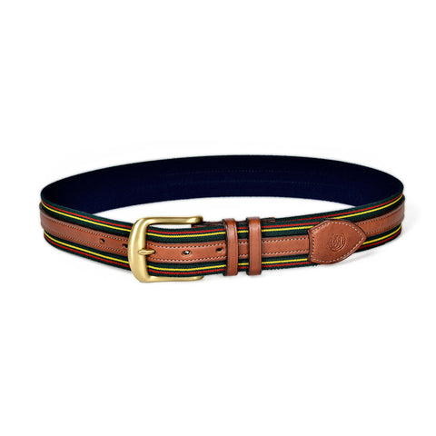 Glendale Overlay Girth Belt (Green w/ Gold)