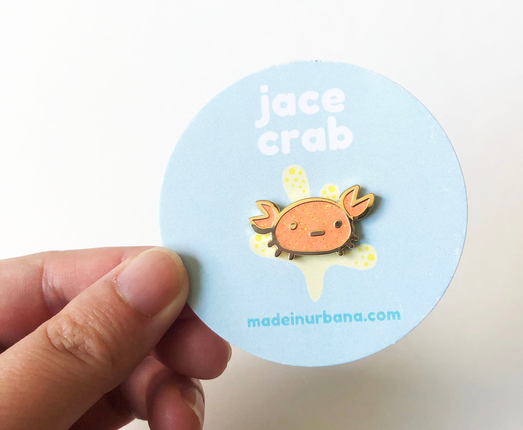 Jace Crab, Orange Glitter Pin with Sunshine Yellow Clutch