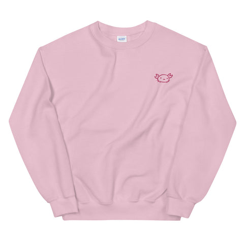 Feelin' Crabby Crab Sweatshirt with Embroidery in Pink