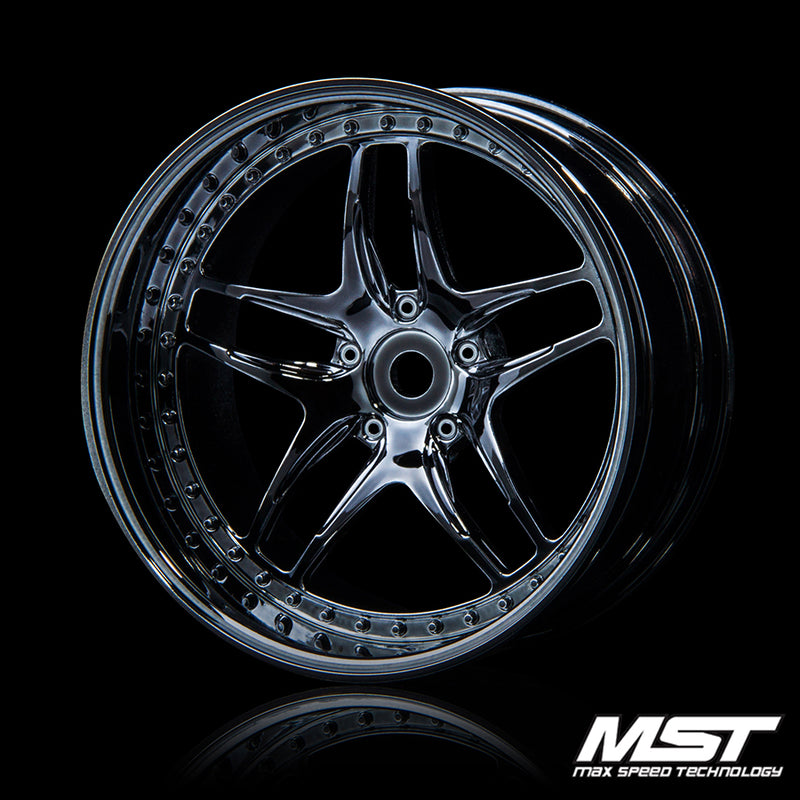 MST FB Offset +8 Wheel Set - Silver Black