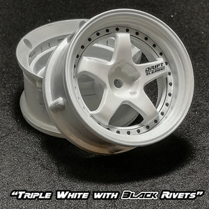 DS Racing (#DE-002) Drift Element Wheel Set - Triple White w/ Black Rivets