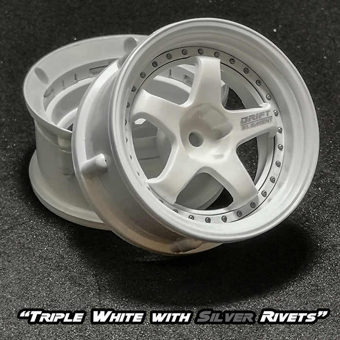 DS Racing Drift Element Wheel Set - Triple White w/ Silver Rivets