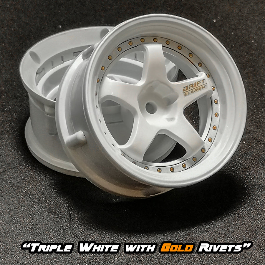 DS Racing (#DE-004) Drift Element Wheel Set - Triple White w/ Gold Rivets