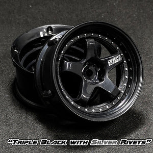 DS Racing (#DE-006) Drift Element Wheel Set - Triple Black w/ Silver Rivets