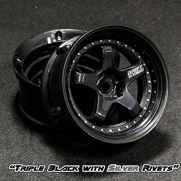 DS Racing Drift Element Wheel Set - Triple Black w/ Silver Rivets