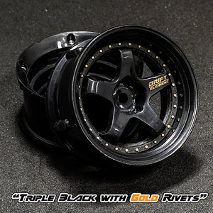 DS Racing (#DE-007) Drift Element Wheel Set - Triple Black w/ Gold Rivets