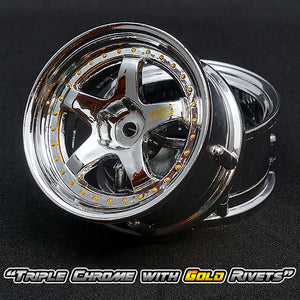 DS Racing (#DE-009) Drift Element Wheel Set - Triple Chrome w/ Gold Rivets