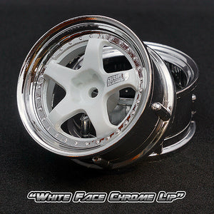 DS Racing (#DE-010) Drift Element Wheel Set - White/Chrome
