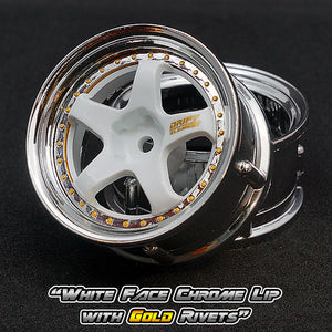 DS Racing (#DE-011) Drift Element Wheel Set - White/Chrome w/ Gold Rivets