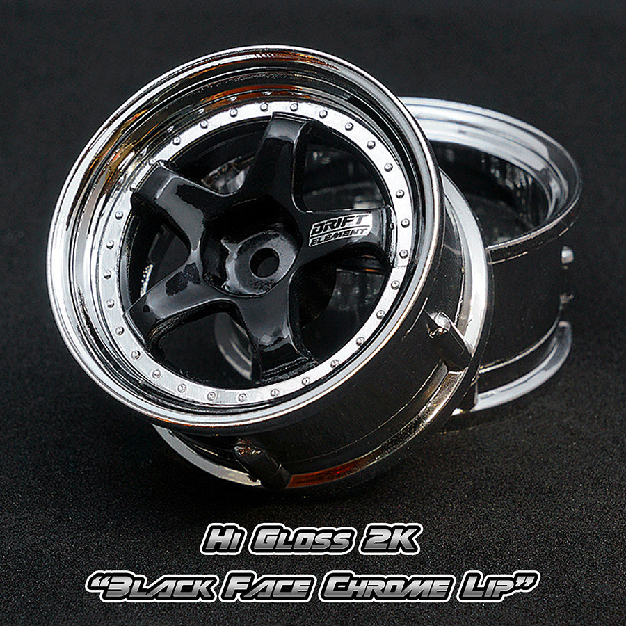 DS Racing (#DE-012) Drift Element Wheel Set - Hi Gloss 2K Black/Chrome