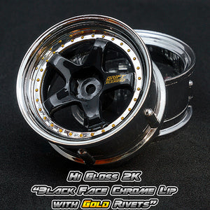 DS Racing (#DE-013) Drift Element Wheel Set - Hi Gloss 2K Black/Chrome w/ Gold Rivets