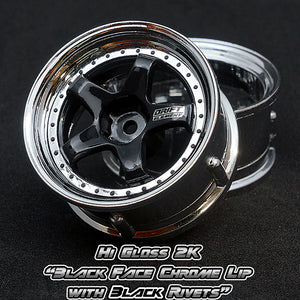 DS Racing (#DE-014) Drift Element Wheel Set - Hi Gloss 2K Black/Chrome w/ Black Rivets