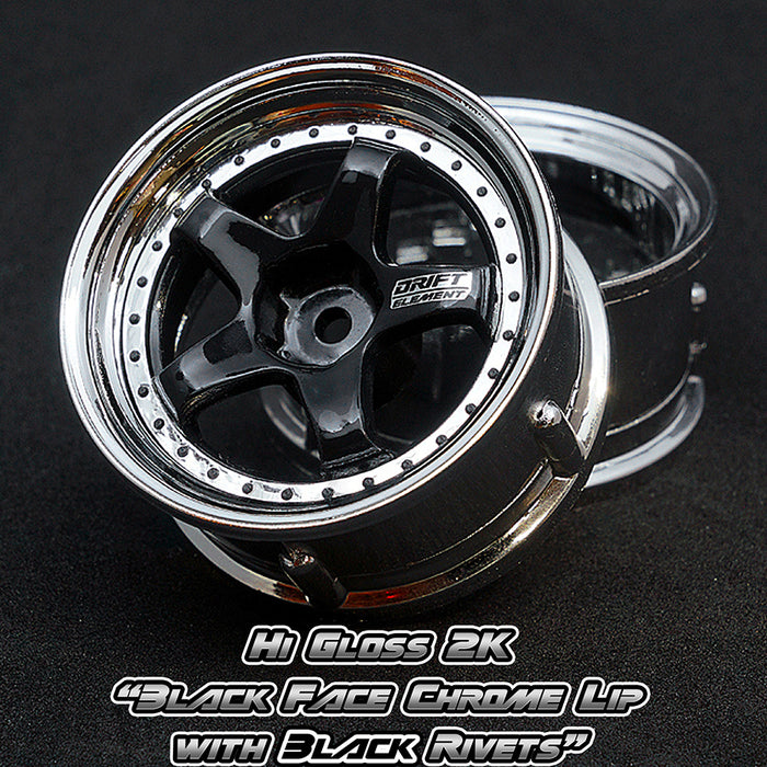 DS Racing Drift Element Wheel Set - Hi Gloss 2K Black/Chrome w/ Black Rivets