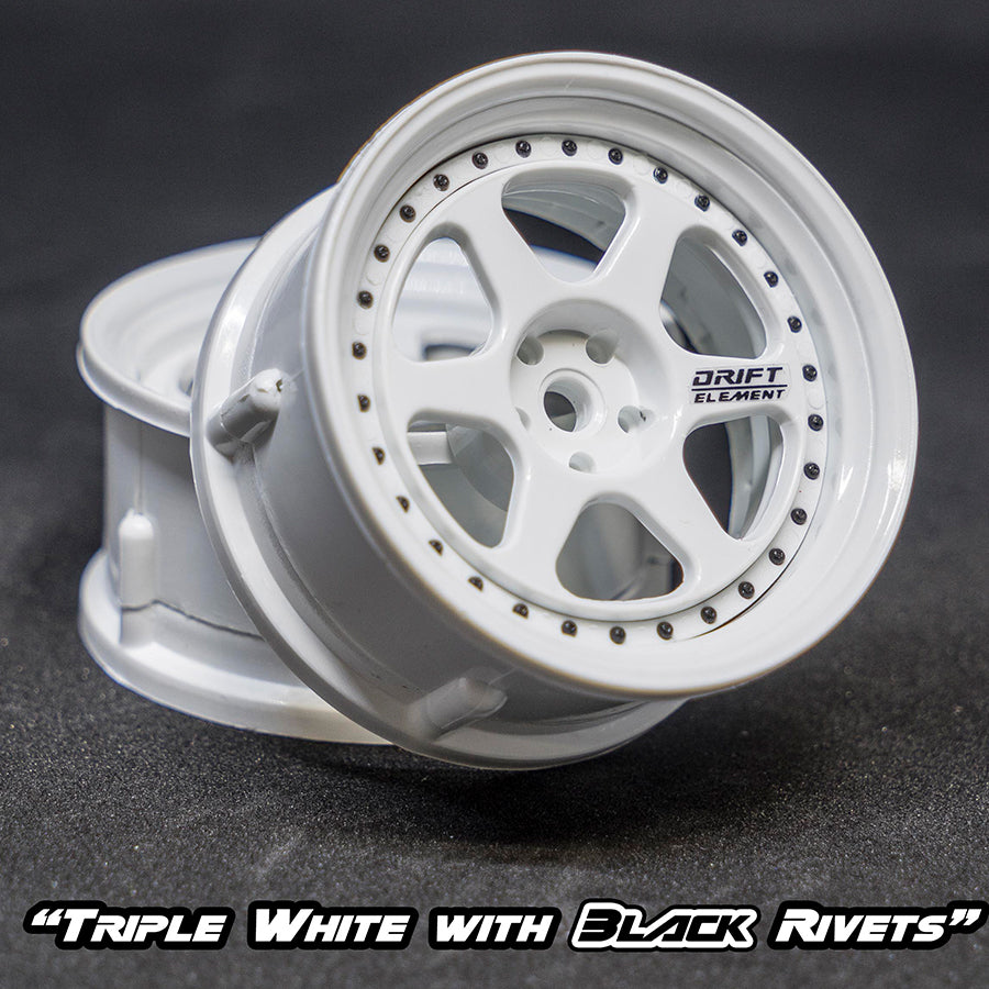 DS Racing (#DE-202) Drift Element II Wheel Set - Triple White w/ Black Rivets