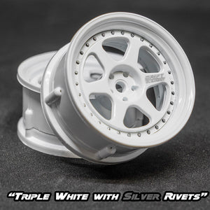 DS Racing (#DE-203) Drift Element II Wheel Set - Triple White w/ Silver Rivets