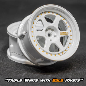 DS Racing (#DE-204) Drift Element II Wheel Set - Triple White w/ Gold Rivets