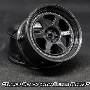 DS Racing (#DE-206) Drift Element II Wheel Set - Triple Black w/ Silver Rivets