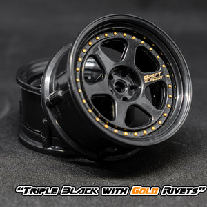 DS Racing (#DE-207) Drift Element II Wheel Set - Triple Black w/ Gold Rivets