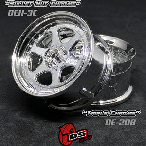 DS Racing (#DE-208) Drift Element II Wheel Set - Triple Triple Chrome