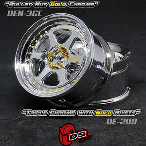DS Racing (#DE-209) Drift Element II Wheel Set - Triple Chrome w/ Gold Rivets