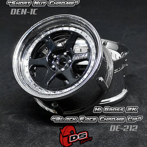 DS Racing (#DE-212) Drift Element II Wheel Set - Hi Gloss 2K Black/Chrome
