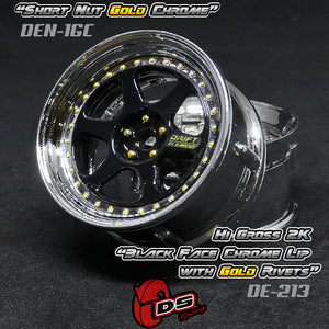 DS Racing (#DE-213) Drift Element II Wheel Set - Hi Gloss 2K Black/Chrome w/ Gold Rivets