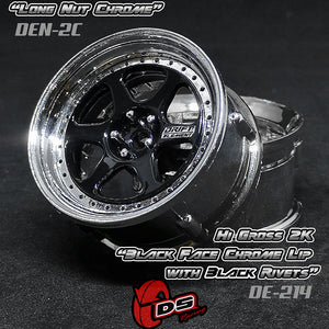 DS Racing (#DE-214) Drift Element II Wheel Set - Hi Gloss 2K Black/Chrome w/ Black Rivets
