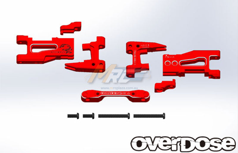 Overdose (#OD2133) Adjustable Aluminum Rear Suspension Arm Set - Red