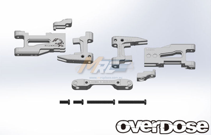 Overdose (#OD2135) Adjustable Aluminum Rear Suspension Arm Set - Silver