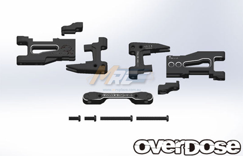 Overdose (#OD2137) Adjustable Aluminum Rear Suspension Arm Set - Black