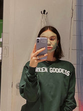 Load image into Gallery viewer, GREEN GODDESS Varsity Crewneck