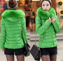 Load image into Gallery viewer, Big size women short cotton coat fur collar cotton jacket