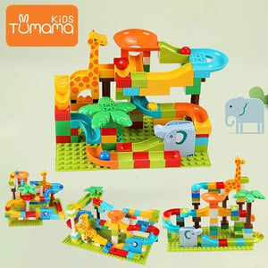 Tumama 91-143PCS Marble Race Run Maze Ball Track Building Blocks Funnel Slide Jungle Adventure Big Size Building Brick Legoingly