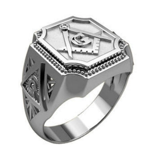 Men's Fashion 925 Sterling Silver Masonic Ring Luxury Natural White Sapphire Jewelry Wedding Engagement Party Accessories