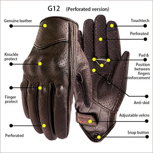 Gloves Motorcycle Leather Brown For Men Summer Motorbike Glove Touch Screen Racing Cycling Sports Gear Premium Quality