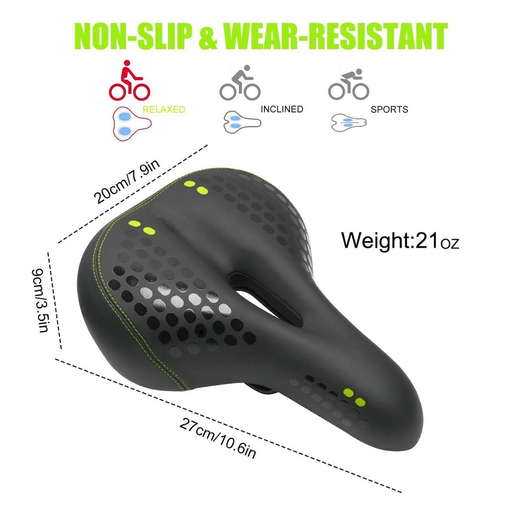 Gel Bike Seat Bicycle Saddles Cushion Dual Spring Designed Comfortable Memory Foam Padded Leather Life Waterproof Taillight