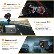 Load image into Gallery viewer, New 1080P Full HD Car DVR Camera Dual lens dash Cam Night Vision Thin Dashcam Driving Recorder Vehicle Motion Detection Front Rear View Car Camcorders 4K HD