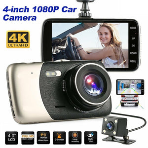 New 1080P Full HD Car DVR Camera Dual lens dash Cam Night Vision Thin Dashcam Driving Recorder Vehicle Motion Detection Front Rear View Car Camcorders 4K HD