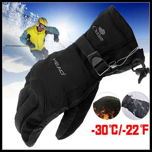 New High Quality Unisex Winter Ski Sport Waterproof Double Gloves Fleece -30 Degree Warm Riding Gloves Snowboard Motorcycle Gloves
