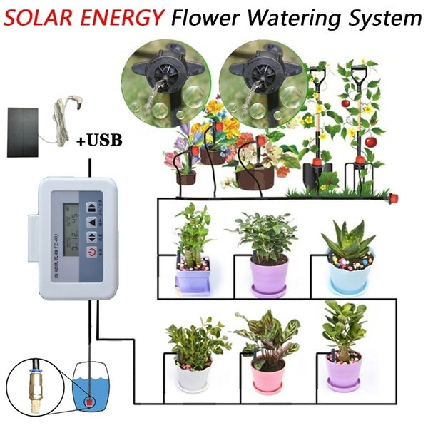 Solar Energe Plant Self-Watering Equipment +10M Tube Drip Kits Automatic Watering Irrigation System