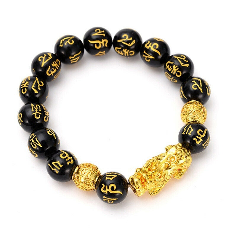 Luck Charm Feng Shui Black Obsidian Wealth Beads Brave Troops Bracelets 12mm