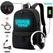 Load image into Gallery viewer, Stranger Things New Luminous Bookbag Students Canvas Waterproof Casual Shoulder Bag Travel Backpack School Bag with USB Charging Hole and Earphone Hole